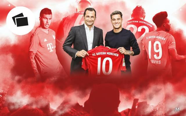 Bayerns Sportdirektor Hasan Salihamidzic (l.) präsentiert den neuen Münchner Superstar Philippe Coutinho