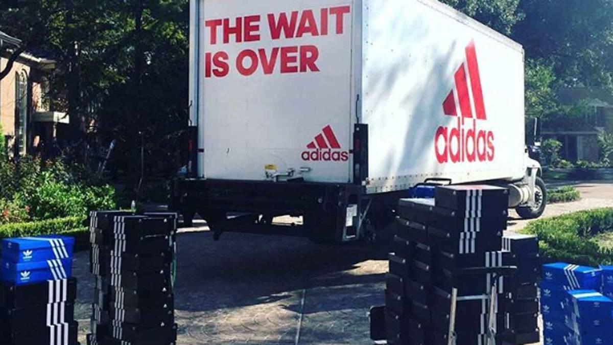 Der Adidas-Truck mit den schuhen für James Harden