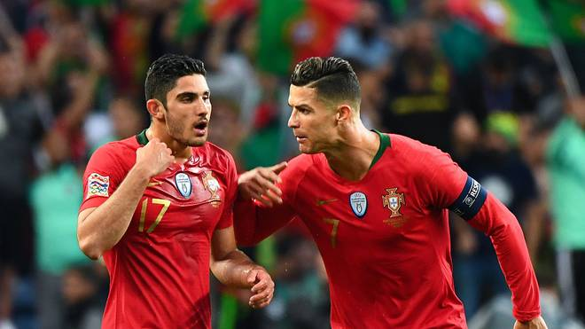 Goncalo Guedes (l., mit Cristiano Ronaldo) schoss Portugal zum Titel in der Nations League