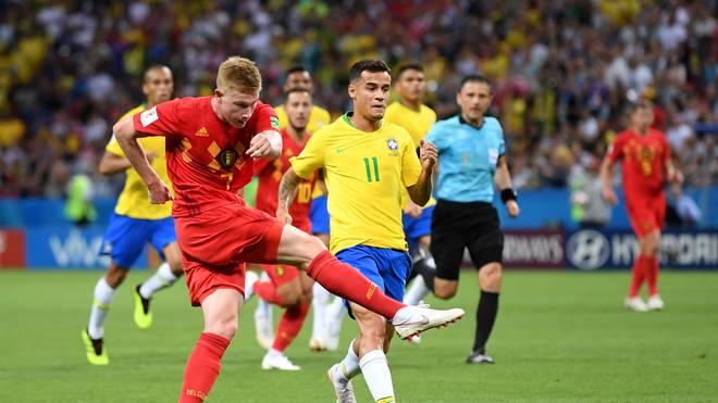 Kevin De Bruyne erzielte mit einem satten Schuss das 2:0 für Belgien gegen Brasilien
