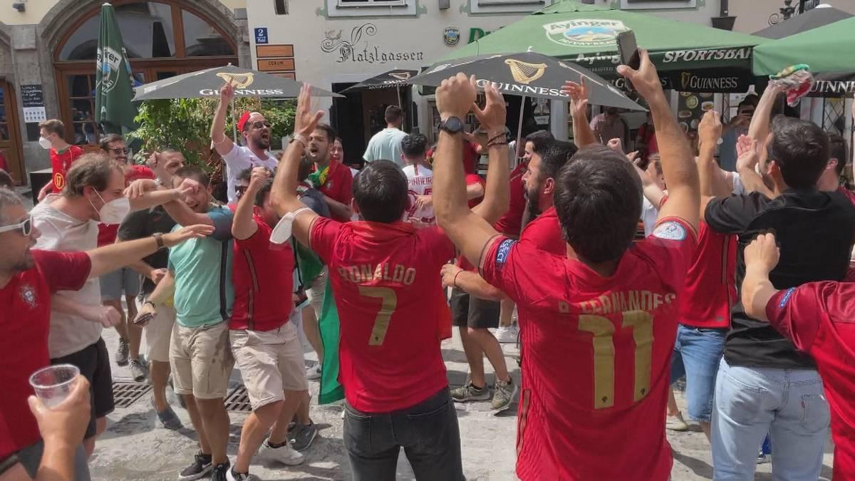 Wer macht mehr Stimmung in München? Vor dem Duell zwischen Deutschland und Portugal haben die Gästefans klar die Nase vorn.