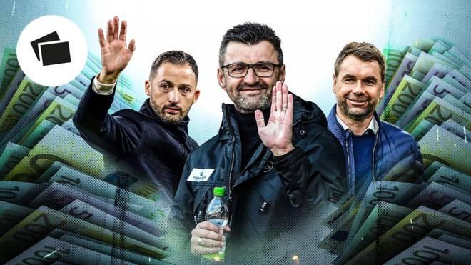 Domenico Tedesco, Michael Köllner und Bernd Hollerbach (v.l.) stehen noch bei Klubs unter Vertrag, die auf ihre Arbeit keinen Wert mehr legen