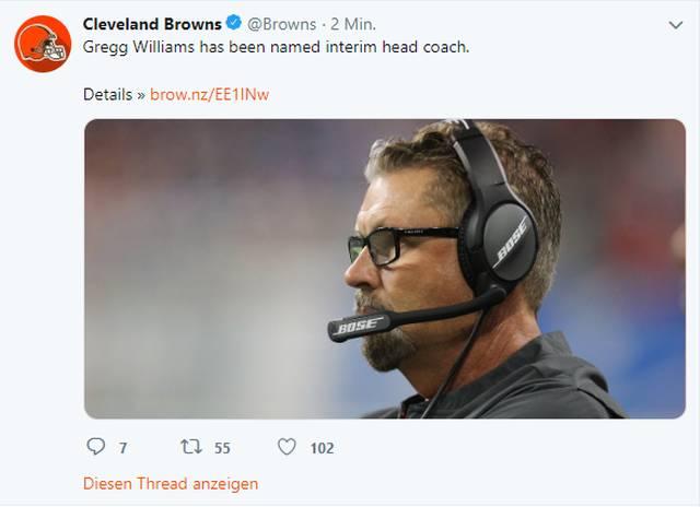 Die Cleveland Browns entlassen Hue Jackson Defensive Coordinator Gregg Williams wird die Browns interimsweise übernehmen