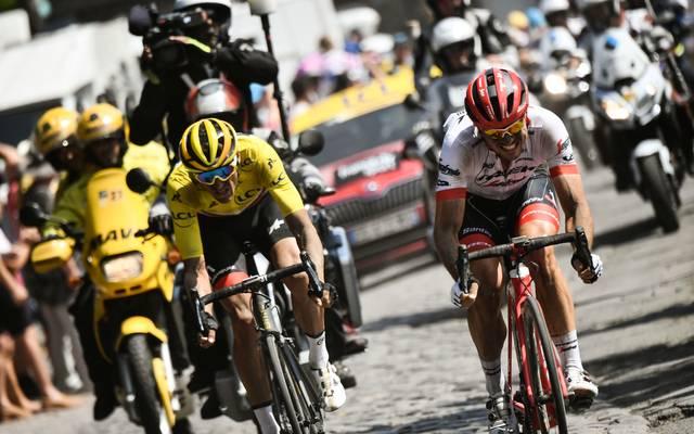 John Degenkolb (r.) gewann bei der Tour de France 2018 die schwierige Etappe nach Roubaix