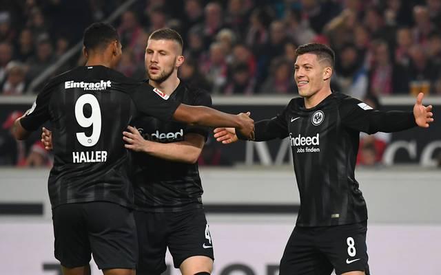 Sebastien Haller, Ante Rebic und Luka Jovic (v.l.) sorgen mit Eintracht Frankfurt für Furore