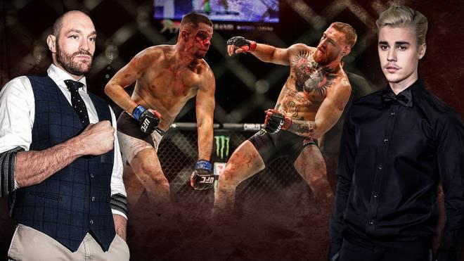 Tyson Fury (l.) und Justin Bieber (r.) kommentierten die Pleite von Conor McGregor