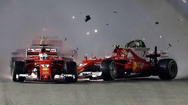 Sebastian Vettel und Kimi Räikkonen zerlegten in Singapur ihre Ferraris