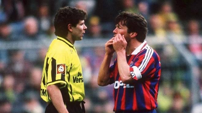 Andreas Möller (l.) und Lothar Matthäus lieferten sich eine der denkwürdigsten Szenen zwischen BVB und Bayern