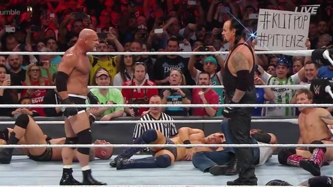 Bill Goldberg und der Undertaker trafen sich am Ende des WWE Royal Rumble 2017