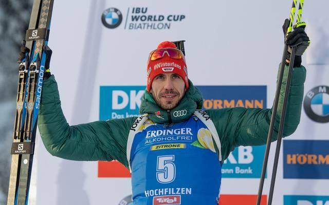 Arnd Peiffer erreichte in der Biathlon-Verfolgung Rang zwei