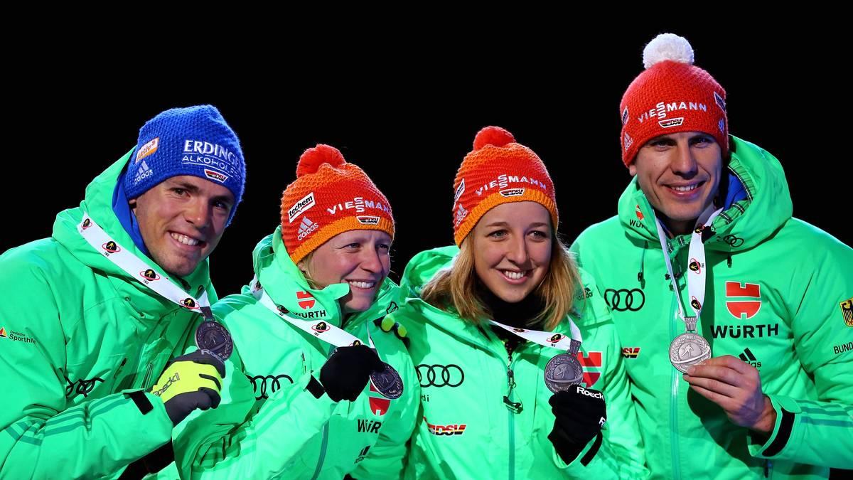 Simon Schempp, Arnd Peiffer, Franziska Preuß and Franziska Hildebrand sorgen für einen gelungenen WM-Auftakt