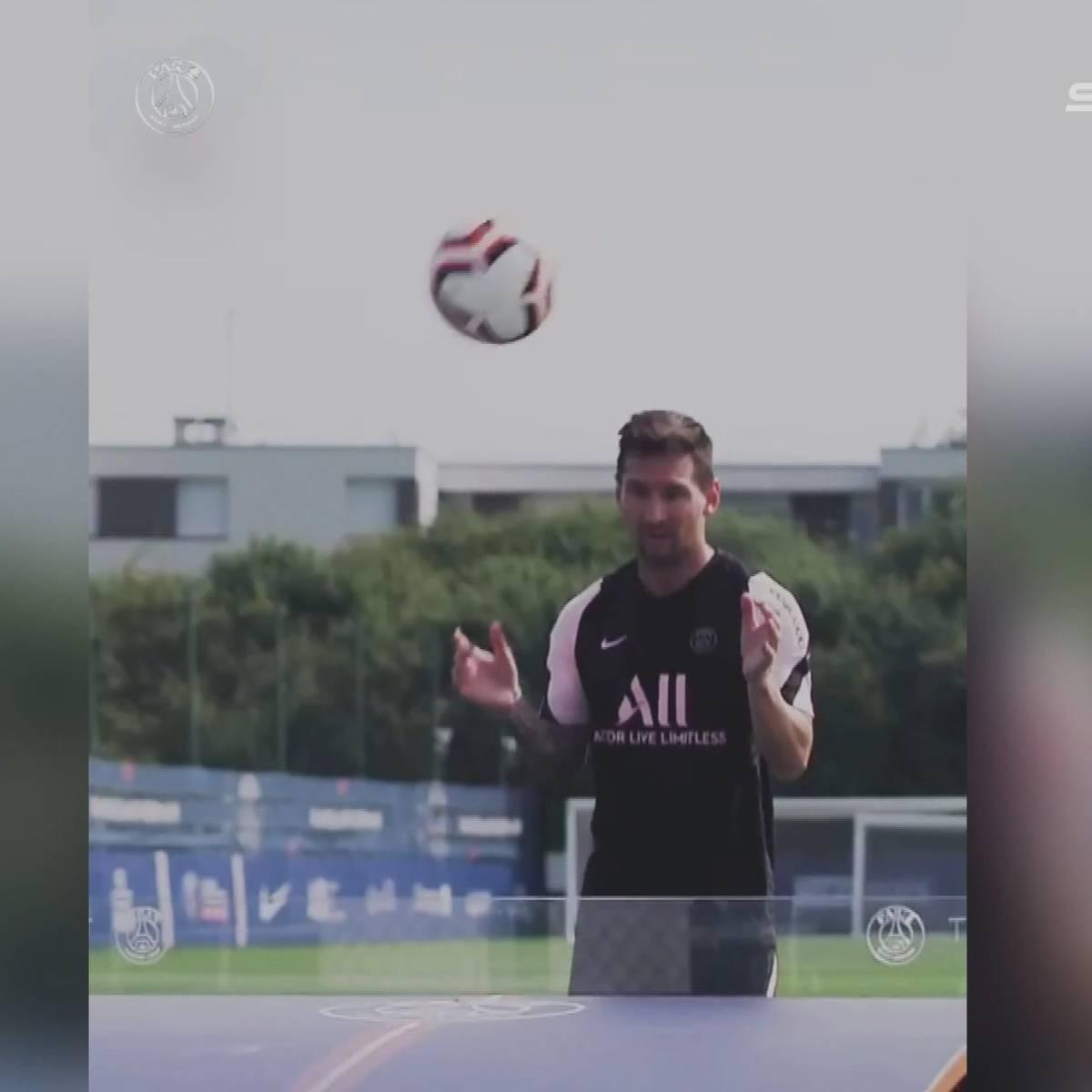 Fußballtennis und Slalomläufe: So lief Messis erstes PSG-Training