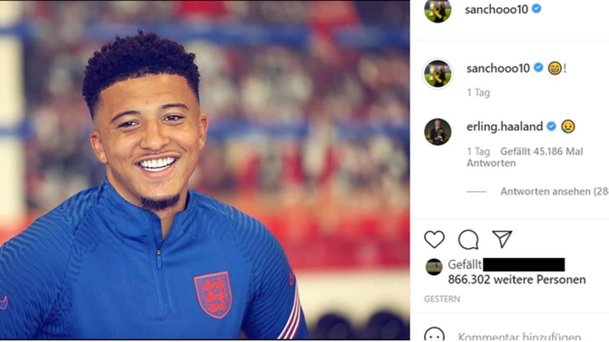 Haaland kommentierte einen Instagram-Post von Sancho