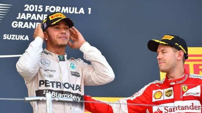 Ferrari-Pilot Sebastian Vettel (r.) musste Lewis Hamilton (l.) in Suzuka den Vortritt lassen