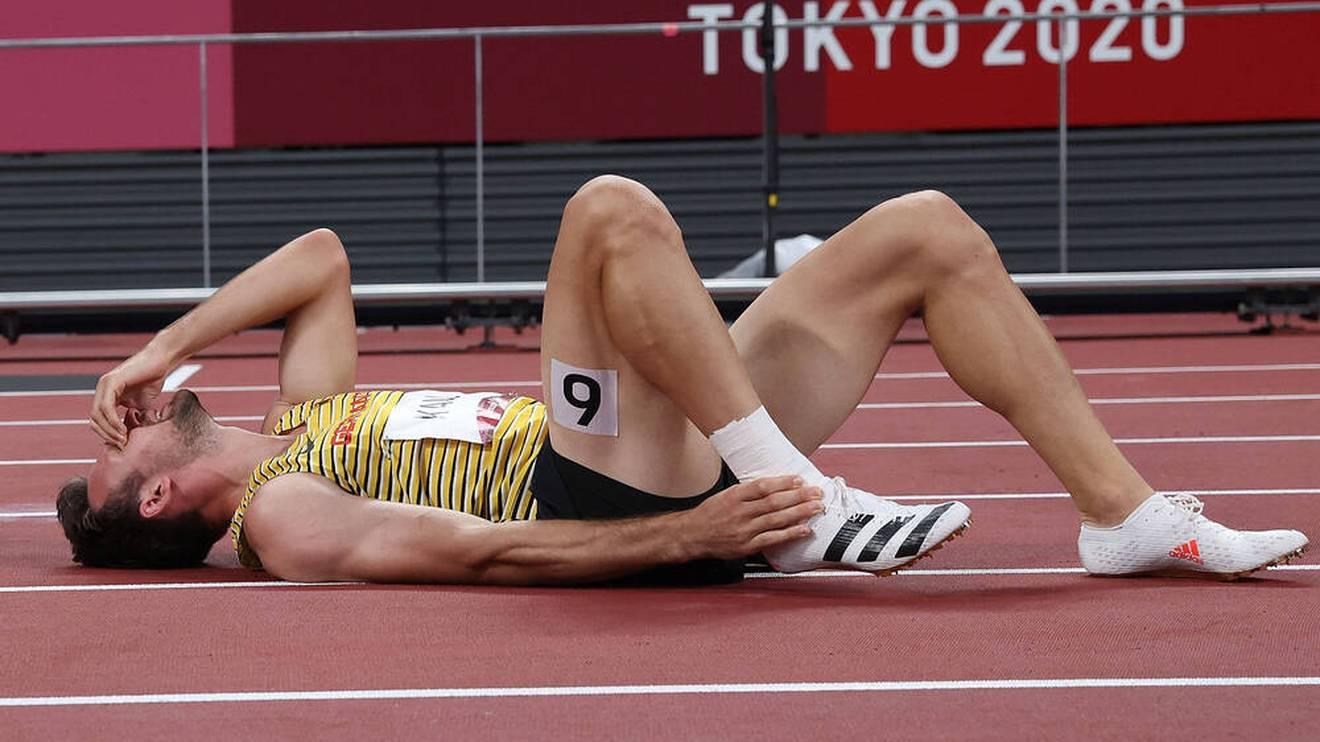Niklas Kaul musste über die 400 m verletzt aufgeben
