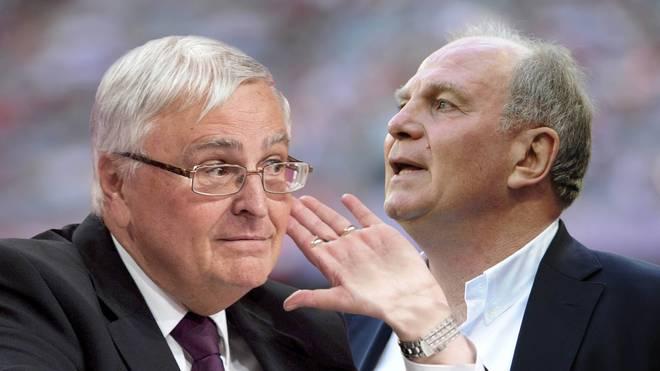 Theo Zwanziger gestikuliert vor einem Bild von Uli Hoeneß, dem ehemaligen Präsidenten des FC Bayern München
