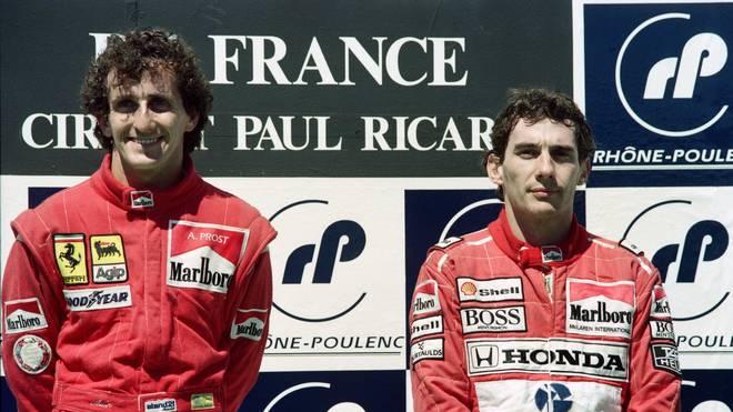 Formel 1: Alain Prost spricht über die Beziehung und Rivalität zu Ayrton Senna, Alain Prost (links) und Ayrton Senna lieferten sich spektakuläre Duelle auf der Strecke