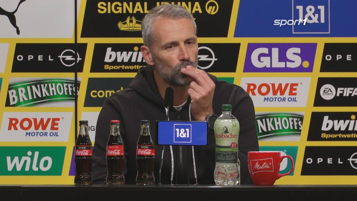 Beim 2:0 von Erling Haaland schickt BVB-Trainer ein Küsschen in Richtung der Mannschaft. Nach dem Spiel klärt er die Situation auf.