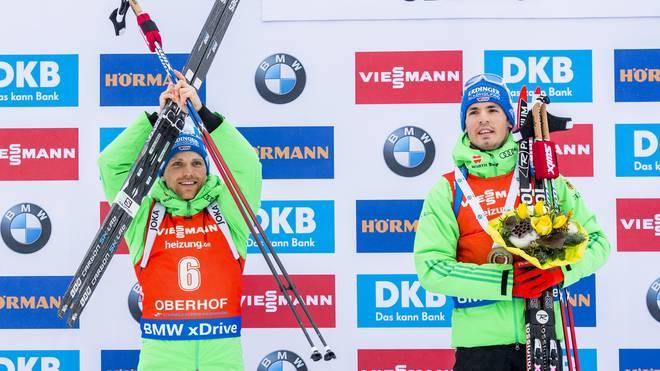 Erik Lesser (l.) und Simon Schempp sind für den Heim-Weltcup in Ruhpolding einsatzbereit