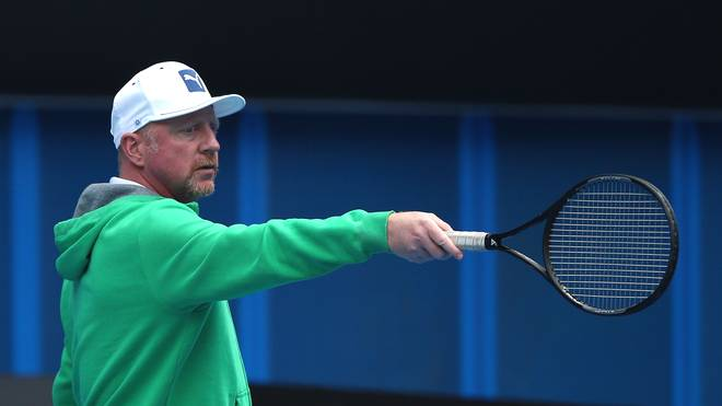 Boris Becker im Training bei den Australian Open