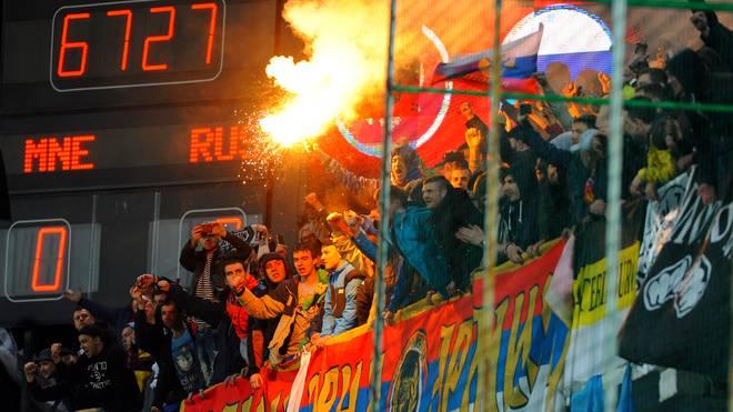 Ausschreitungen beim Spiel Montenegro gegen Russland in der EM-Qualifikation