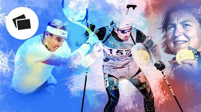 Rafael Nadal (l.), Martin Fourcade (M.) und Birgit Fischer dominierten ihre Sportarten über Jahre hinweg