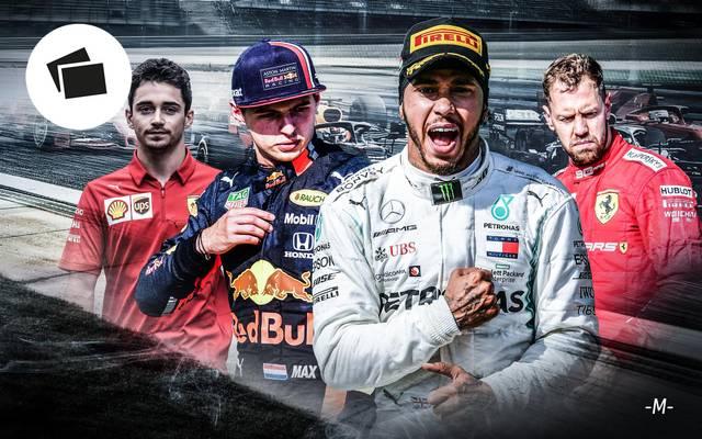 Die Fahrerzeugnisse der Formel 1 mit Verstappen, Vettel, Hamilton, Leclerc