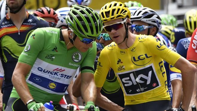 Marcel Kittel (l.) ist geschockt von den auffälligen Dopingbefunden von Christopher Froome (r.)