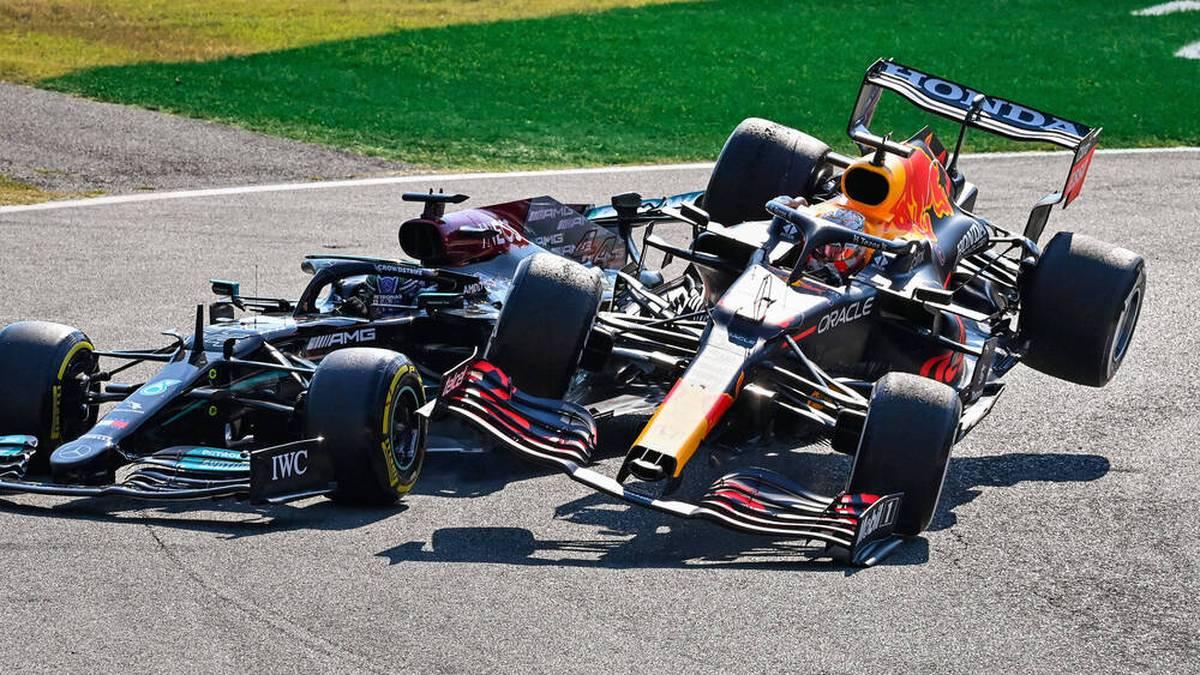 Max Verstappen landete mit seinem Boliden auf Lewis Hamilton