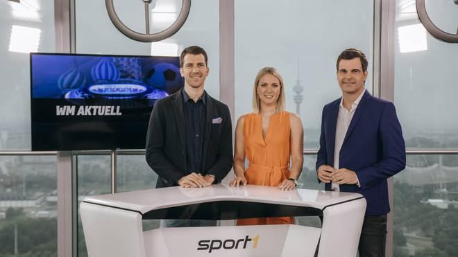 """Patrick Fischer (Vorsitzender der Geschäftsführung der Sport1 Media GmbH), Ruth Hofmann und Oliver Schwesinger (Moderatoren """"WM Aktuell"""")"""