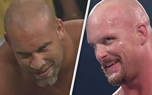 Von der WWE als mögliche Royal-Rumble-Teilnehmer angedeutet: Goldberg (l.) und Stone Cold Steve Austin