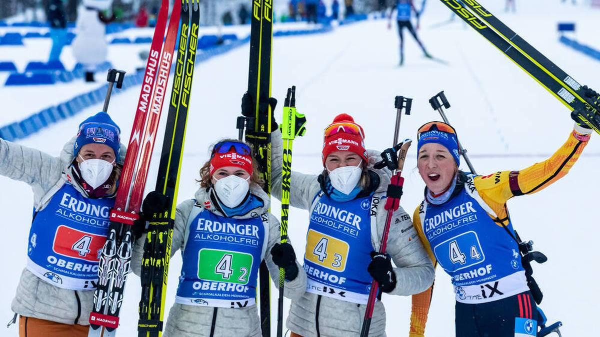 Die deutsche Biathlon,-Frauen beendeten beim Weltcup in Oberhof eine Durststrecke