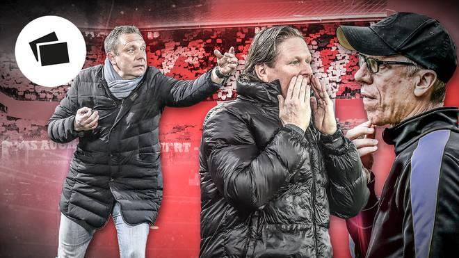 Andre Breitenreiter, Markus Gisdol und Peter Stöger (v.l.) kommen für den Trainerposten in Nürnberg oder Stuttgart infrage