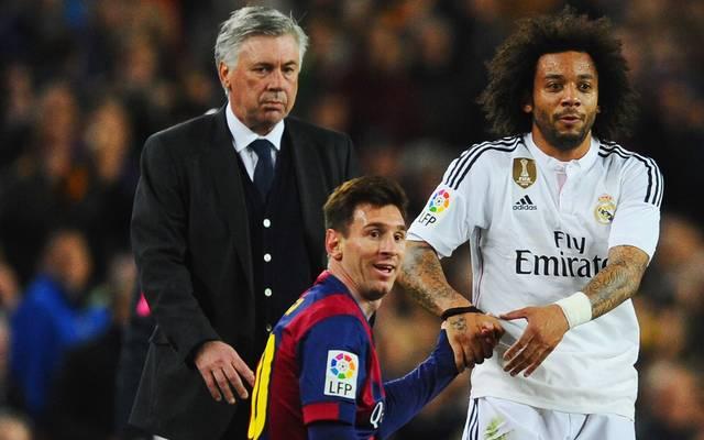 Carlo Ancelotti (l.) war bei fünf Clasicos Trainer von Real Madrid