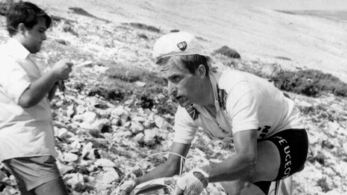 Tom Simpson auf dem Mont Ventoux - rund eine Stunde vor seinem Tod am 13. Juli 1967