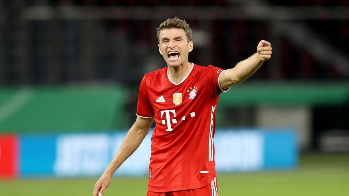 Bayern Munich's German forward Thomas Mueller reacts during the German Cup (DFB Pokal) final football match Bayer 04 Leverkusen v FC Bayern Munich at the Olympic Stadium in Berlin on July 4, 2020. (Photo by Alexander Hassenstein / POOL / AFP) / DFB REGULATIONS PROHIBIT ANY USE OF PHOTOGRAPHS AS IMAGE SEQUENCES AND QUASI-VIDEO. (Photo by ALEXANDER HASSENSTEIN/POOL/AFP via Getty Images)