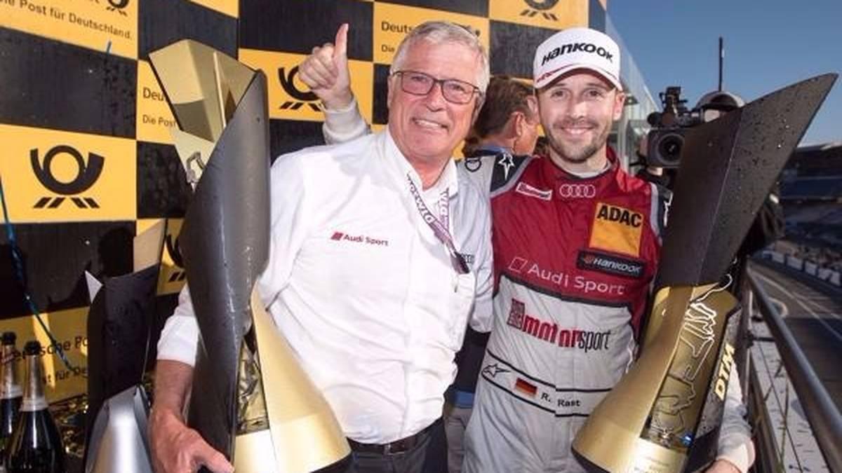 Rene Rast und Rosberg-Teamchef Arno Zensen strahlen nach dem Titelgewinn