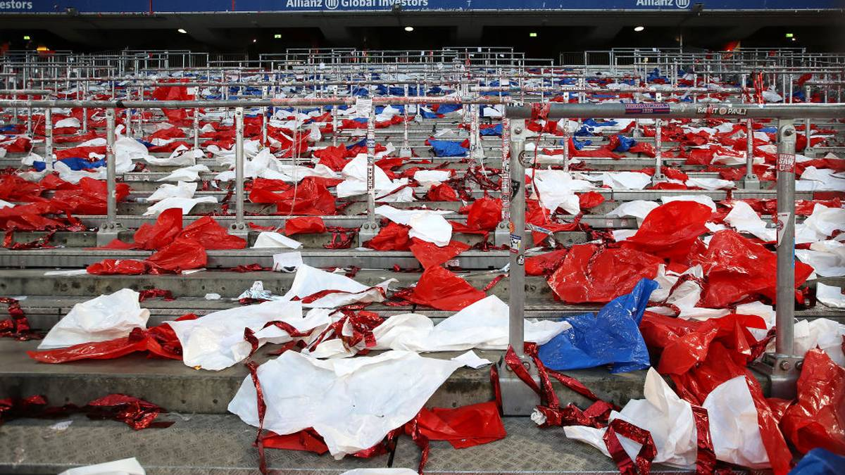 MUNICH, GERMANY - MARCH 08: Empty stands after the Bundesliga match between FC Bayern Muenchen and FC Augsburg at Allianz Arena on March 08, 2020 in Munich, Germany. (Photo by Alexander Hassenstein/Bongarts/Getty Images)