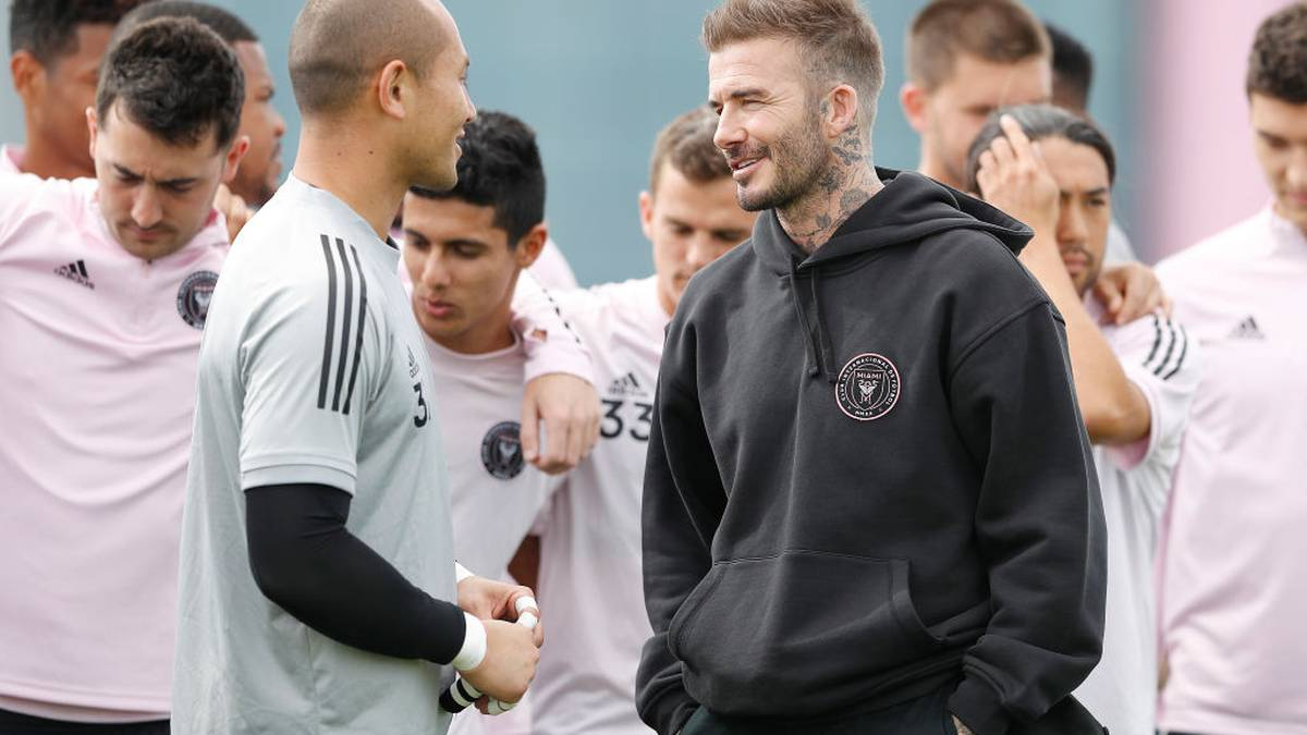 FORT LAUDERDALE, FLORIDA - FEBRUARY 25:  Owner and President of Soccer Operations David Beckham talks with goalie Luis Robles #31 after he was named club captain, during media availability at Inter Miami CF Stadium on February 25, 2020 in Fort Lauderdale, Florida. (Photo by Michael Reaves/Getty Images)