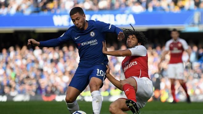 Chelseas Eden Hazard (links) und Arsenal mit Mohamed Elneny trafen zuletzt im September aufeinander