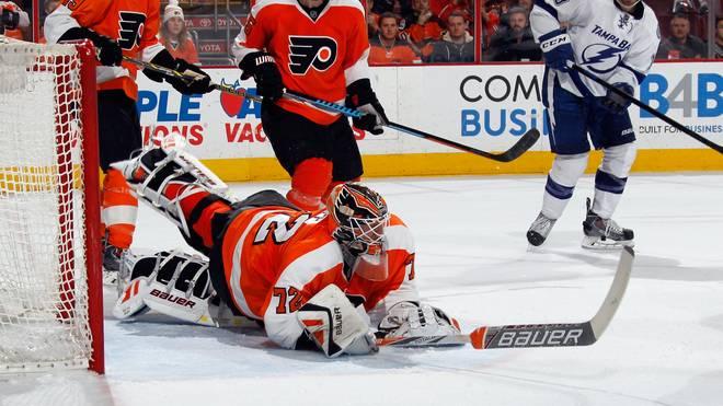 Rob Zepp im Tor der Philadelphia Flyers gegen Tampa Bay Lightning
