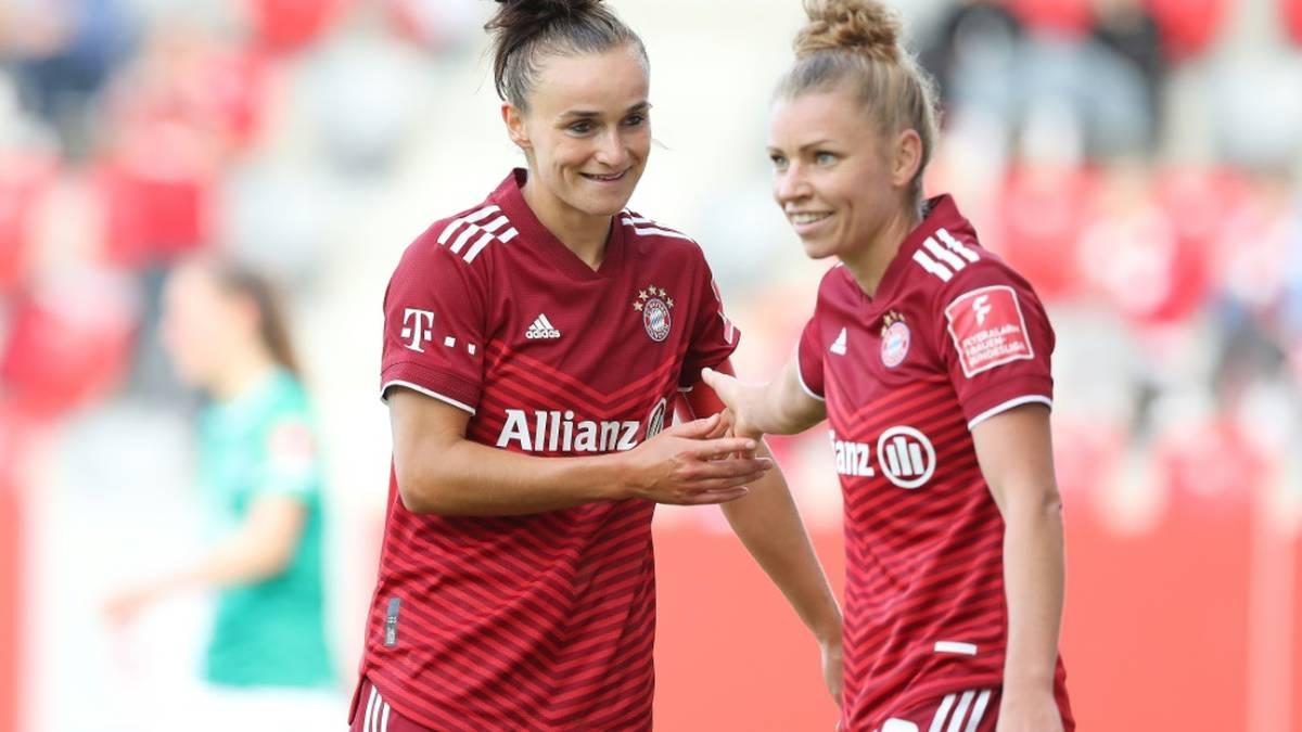 Lina Magull (l.) erzielte zwei Tore für Bayern (2./65.)