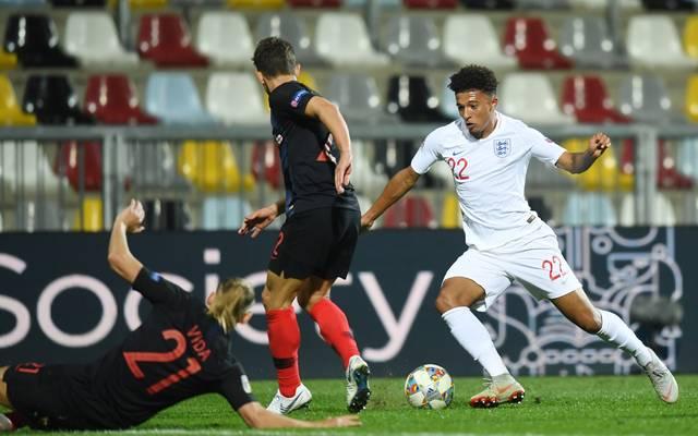 Jadon Sancho (r.) gab gegen Kroatien sein Debüt für England