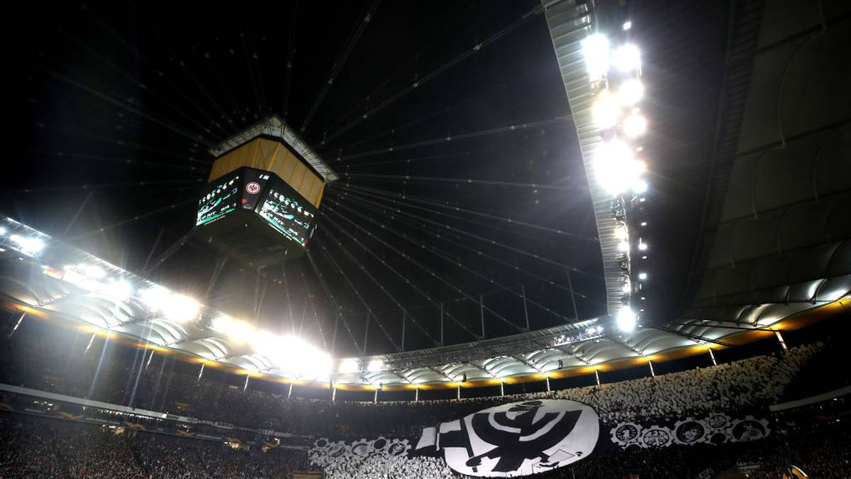FRANKFURT AM MAIN, GERMANY - OCTOBER 24: A general view inside the stadium as fans of Eintracht Frankfurt display a tifo ahead of the UEFA Europa League group F match between Eintracht Frankfurt and Standard Liege at  on October 24, 2019 in Frankfurt am Main, Germany. (Photo by Alex Grimm/Bongarts/Getty Images)