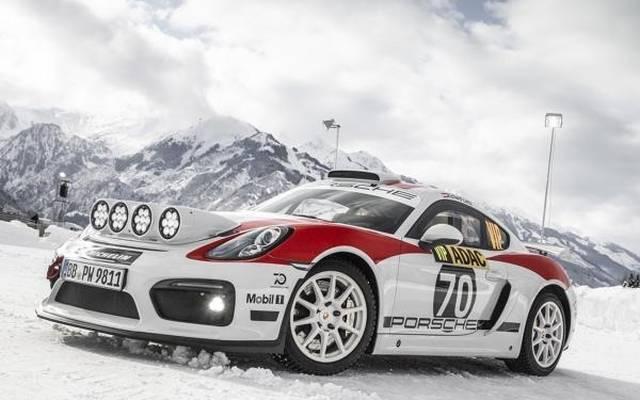 Auf Eis drehte der Porsche Cayman GT4 Rallye in Zell am See seine Runden