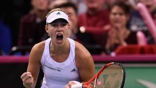 Nach dem Sieg über Samantha Stosur schreit Angelique Kerber ihre Erleichterung heraus