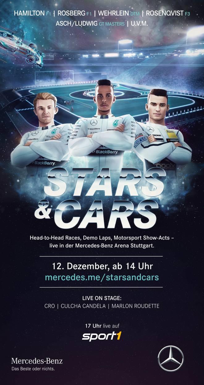 Mit Lewis Hamilton (m.) und Nico Rosberg (l.) ist das Erfolgsduo der Formel 1 in Stuttgart am Start