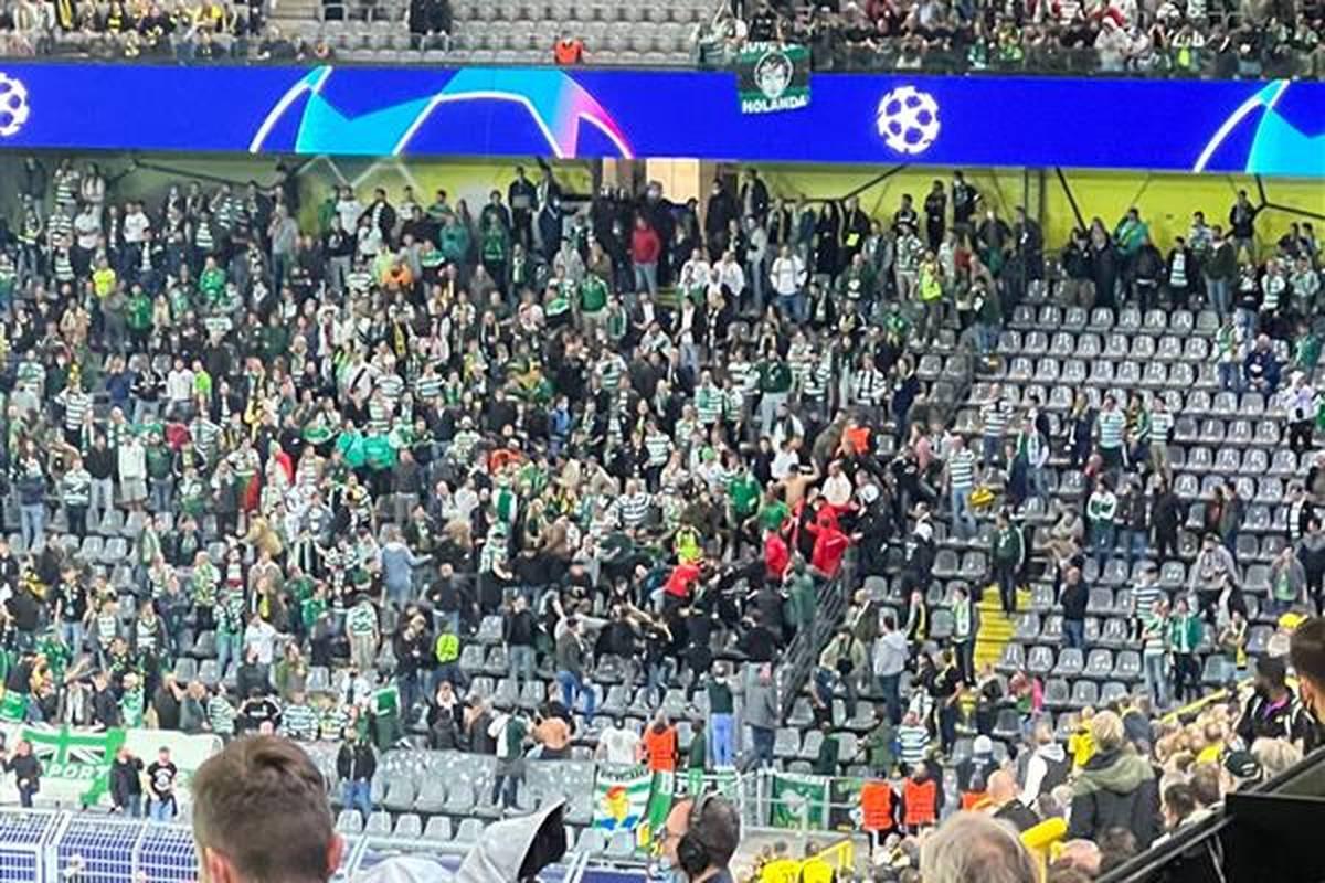 Beim Champions-League-Spiel zwischen Borussia Dortmund und Sporting Lissabon kommt es auf der Tribüne zu handfesten Auseinandersetzungen.  Die Polizei muss anrücken, um für Ordnung zu sorgen.