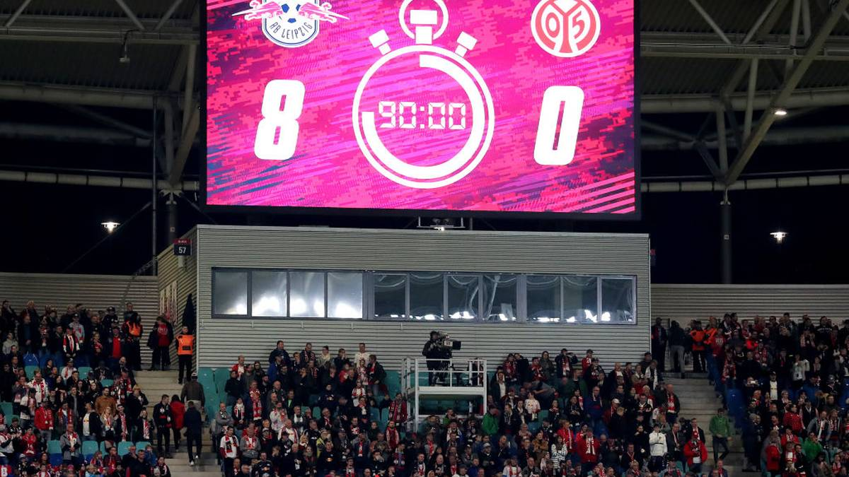 LEIPZIG, GERMANY - NOVEMBER 02: The scoreboard displays 8-0 at Full time   during the Bundesliga match between RB Leipzig and 1. FSV Mainz 05 at Red Bull Arena on November 02, 2019 in Leipzig, Germany. (Photo by Boris Streubel/Bongarts/Getty Images)