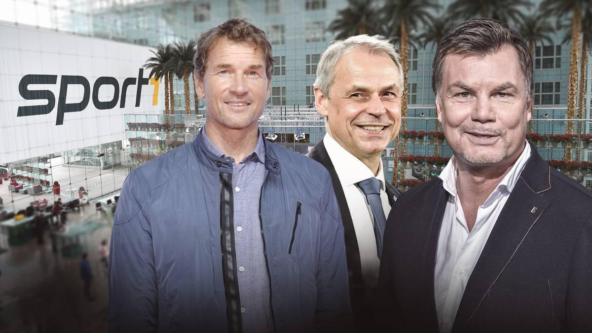 Jens Lehmann (li.) und Olaf Thon (Mitte) sind am Sonntag zum Gast im CHECK24 Doppelpass